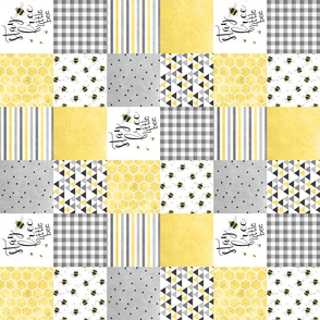 3 inch Stay Free Little Bee - wholecloth Cheater Quilt - Rotated