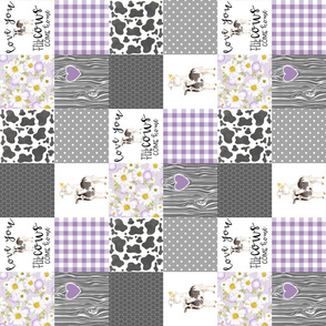 3 Inch Purple Farm//Love you till the cows come home - wholecloth cheater quilt - rotated