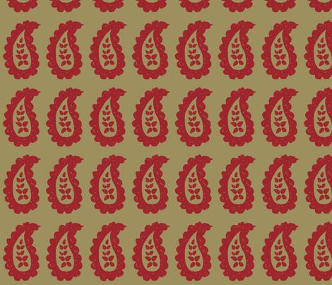 Paisley Block Print Khaki Red fabric by kristin_nicholas on Spoonflower - custom fabric
