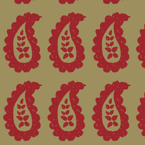 Paisley Block Print Khaki Red