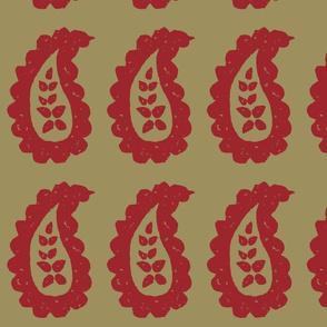 Paisley Block Print Khaki Red