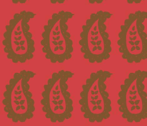Paisley Block Print - Red Brown fabric by kristin_nicholas on Spoonflower - custom fabric