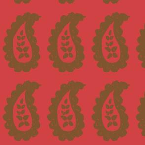 Paisley Block Print - Red Brown