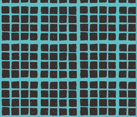 small block fabric blockprint teal-brown fabric by kristin_nicholas on Spoonflower - custom fabric