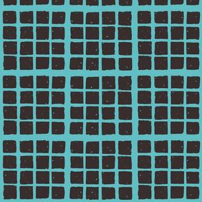 small block fabric blockprint teal-brown