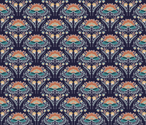 Floral Fans fabric by laurenjdelgado_ on Spoonflower - custom fabric