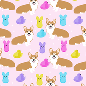 corgi marshmallow easter treats candy dog breed fabric pink