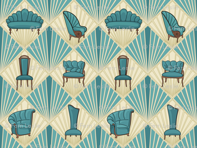 Art Deco Chairs - Large - Turquoise