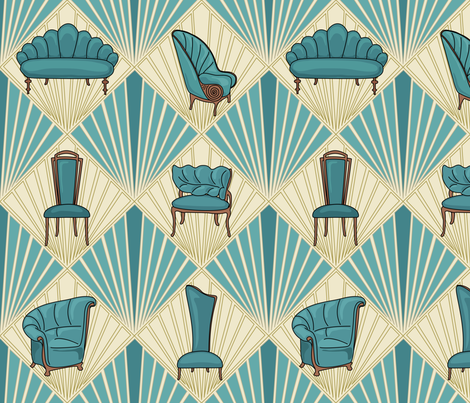 Art Deco Chairs - Large - Turquoise fabric by fernlesliestudio on Spoonflower - custom fabric