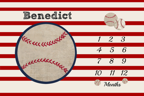 Growth Chart 54 Baseball Red Stripe Personalized For Benedict Fabric
