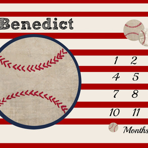 growth chart 54-baseball red stripe PERSONALIZED for Benedict
