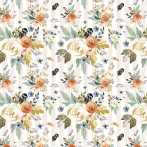 """8"""" Western Autumn / More Florals / Ivory Stripes / 90 degrees"""