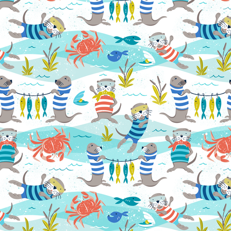 Otterly Fun - Summer Nautical Small Scale fabric by heatherdutton on Spoonflower - custom fabric