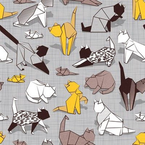 Origami kitten friends // grey linen texture background with sunglow yellow paper cats