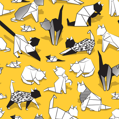 Origami kitten friends // sunglow yellow background paper cats fabric by selmacardoso on Spoonflower - custom fabric