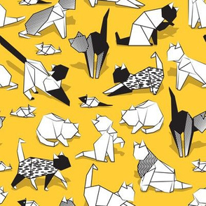 Origami kitten friends // sunglow yellow background paper cats