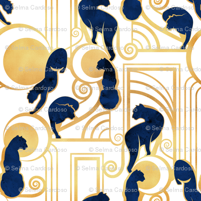Deco Gatsby Panthers // normal scale // white navy and gold