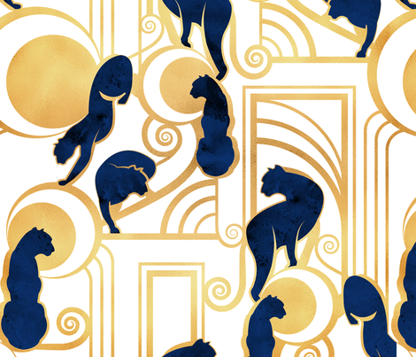 Deco Gatsby Panthers // normal scale // white navy and gold fabric by selmacardoso on Spoonflower - custom fabric