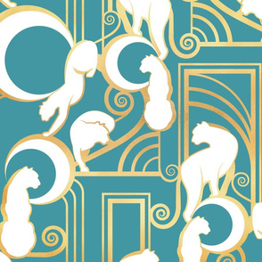 Deco Gatsby Panthers // teal and gold