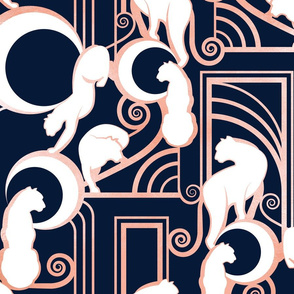 Deco Gatsby Panthers // large jumbo scale // navy and metal rose