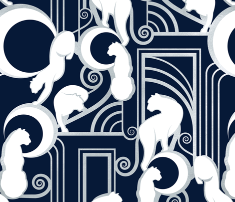 Deco Gatsby Panthers // navy and silver fabric by selmacardoso on Spoonflower - custom fabric