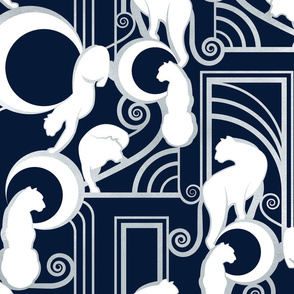 Deco Gatsby Panthers // navy and silver