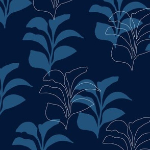 Hydrangea Leaves in Navy