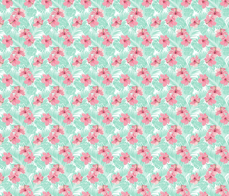 Hibiscus Tropical Flowers Floral on Teal Smaller fabric by khaus on Spoonflower - custom fabric