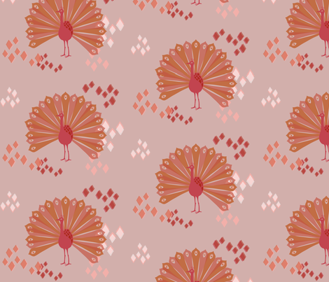 Pink pop peacock fabric by mrshervi on Spoonflower - custom fabric
