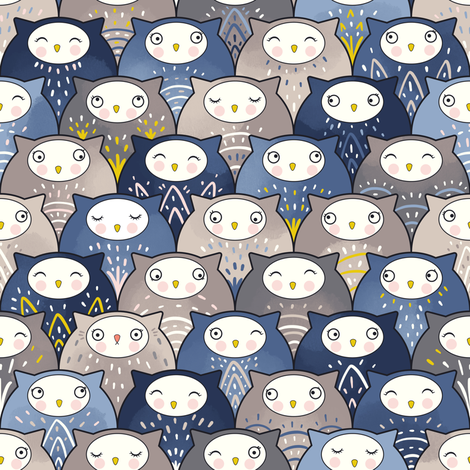 Find a cat in a parliament of owls (Art Deco Kawaii)  fabric by elena_naylor on Spoonflower - custom fabric