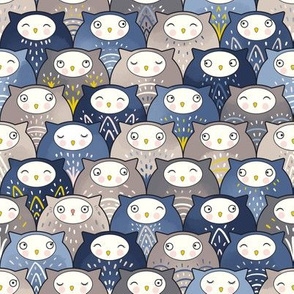 Find a cat in a parliament of owls (Art Deco Kawaii)