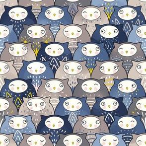 Find a cat in a parliament of owls (Art Deco Kawaii)
