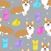 corgi marshmallow easter treats candy dog breed fabric  - smaller size