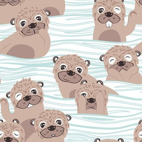 Otters dazzling the audience // white background with waves