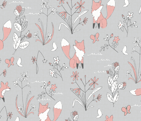 Fox and Flora - Large Scale fabric by papercanoefabricshop on Spoonflower - custom fabric