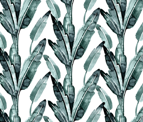 "banana leaves_blue sage 6"" fabric by crystal_walen on Spoonflower - custom fabric"