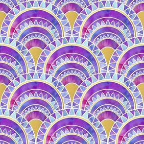 Modern Art Deco Inspired Fan with Pink and Purple Watercolour