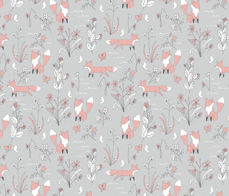 Fox and Flora - Small Scale fabric by papercanoefabricshop on Spoonflower - custom fabric