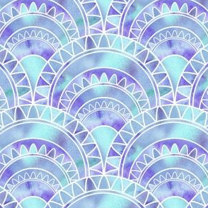 Art Deco Fan with Blue Watercolour Abstract