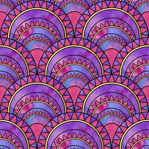 Modern Art Deco Inspired Fan with Pink, Purple and Blue Watercolour Abstracts
