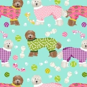 labradoodles pjs fabric - cute pyjamas and dogs design - mint