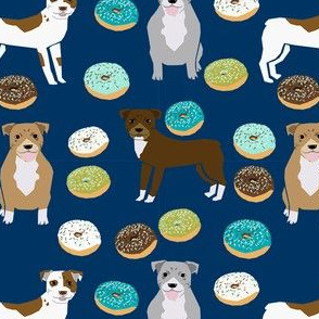 pitbull donut fabric - donuts and dogs food design - navy