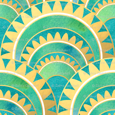 Modern Art Deco Inspired Fan with Green and Gold Watercolour Abstracts