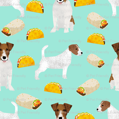 jack russell terriers and tacos fabric- food burritos, tacos, dog design - mint
