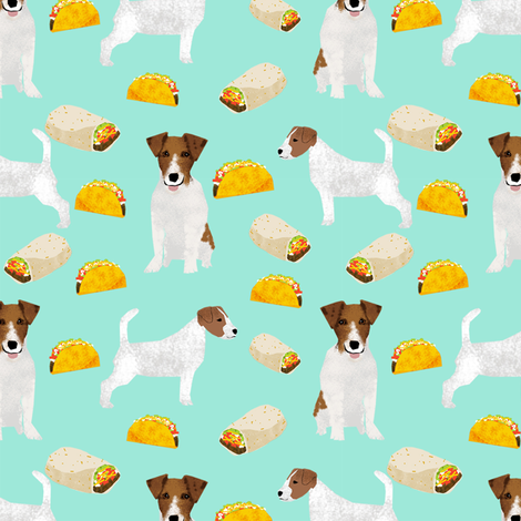 jack russell terriers and tacos fabric- food burritos, tacos, dog design - mint fabric by petfriendly on Spoonflower - custom fabric