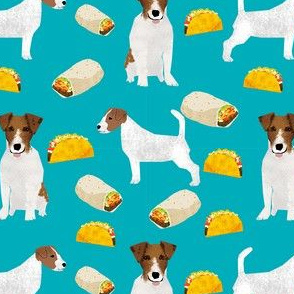 jack russell terriers and tacos fabric- food burritos, tacos, dog design - turquoise