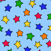 Colorful Stars On Blue