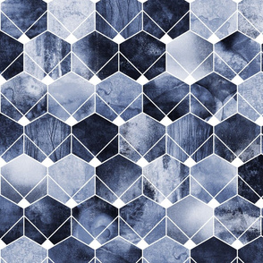 Blue Hexagons And Diamonds - Medium