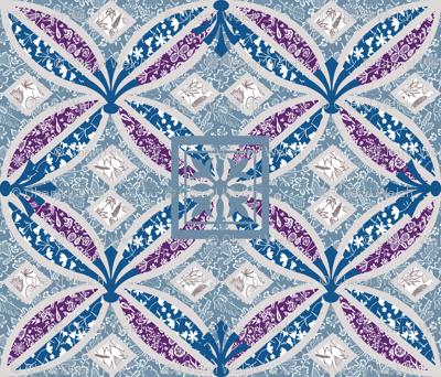 Boho Art Deco violet teal