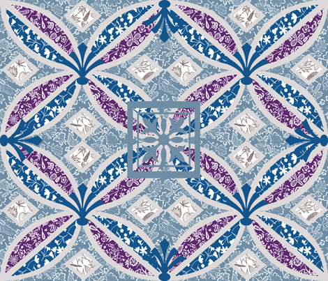 Boho Art Deco violet teal fabric by mypetalpress on Spoonflower - custom fabric